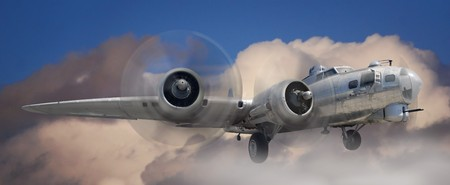 aircraft bomber: Fish eye view of a B-17 Stratofortress airplane in the clouds