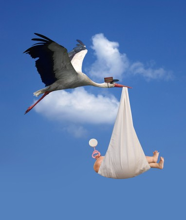 Classic depiction of a stork in flight delivering a newborn baby Standard-Bild