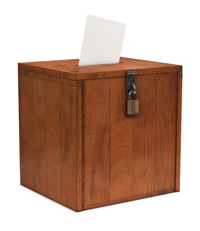 proxy falls: An envelope going in the slot of a ballot box Stock Photo