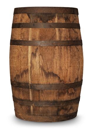 aged oak barrel on white background
