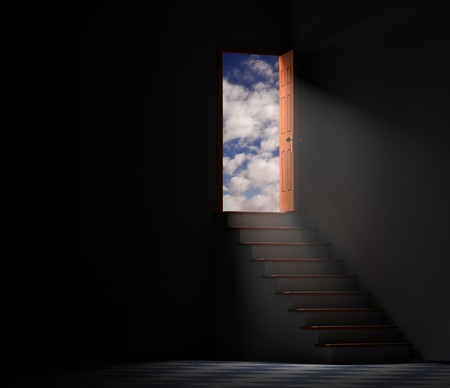 way out: Stairway from a dark basement leading to the outside with clouds and blue sky Stock Photo