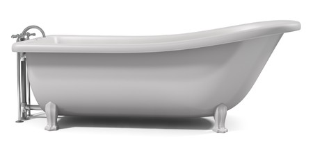after the bath: A Cast-Iron standing bathtub on white