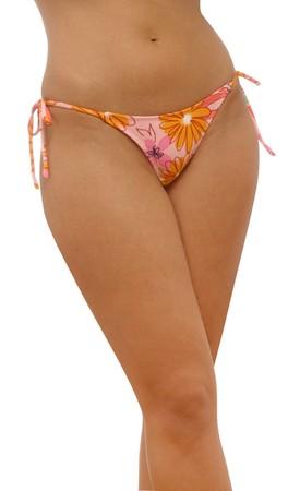 badpak: taille en benen van jonge vrouw in bikini