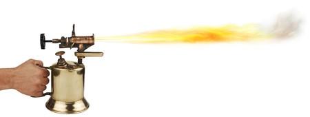 blowtorch: vintage brass blowtorch on white background Stock Photo