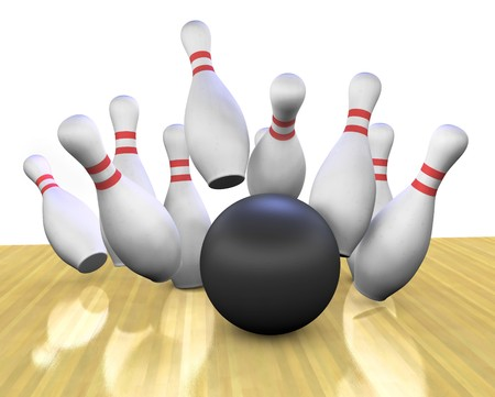 This is a 3d render of a bowling ball crashing into the pins. Foto de archivo
