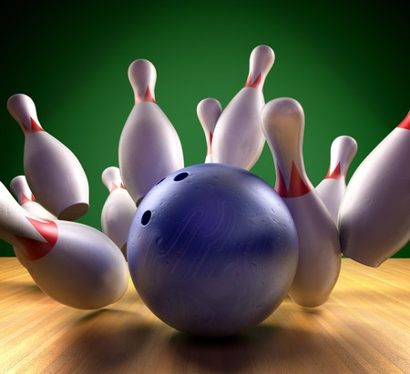This is a 3d render of a bowling ball crashing into the pins. Stock Photo