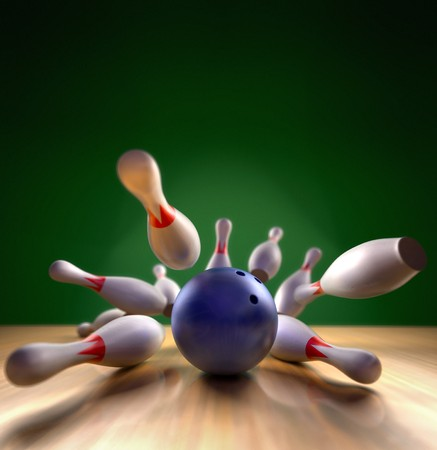 A fun 3d render of a bowling ball crashing into the pins. Extreme perspective, depth of field focus on the ball. Foto de archivo