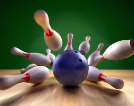 frappe: Un rendu 3D ludique d'une boule de bowling s'�craser sur les broches. Point de vue extr�me, profondeur de champ de terrain sur le ballon. Banque d'images