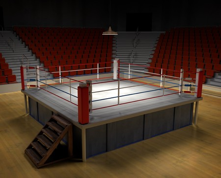 A 3d generated professional boxing ring front ropes removed. Easly place objects photo