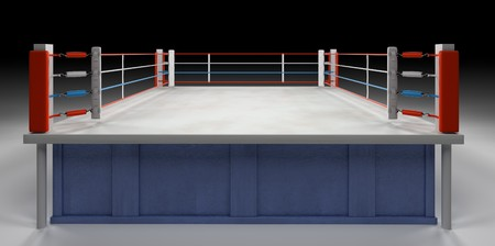 A 3d generated professional boxing ring front ropes removed. Easly place objects, products or people in the ring..