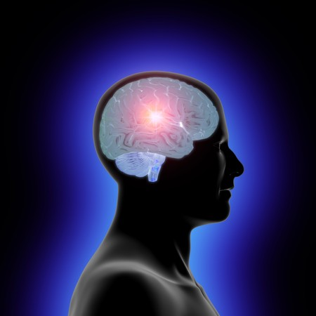 Profile of a mans head and a translucent brain with an inner glow