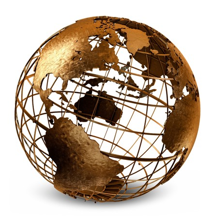 metal structure: 3D art showing a caged brass metalic structure of the earth on white.