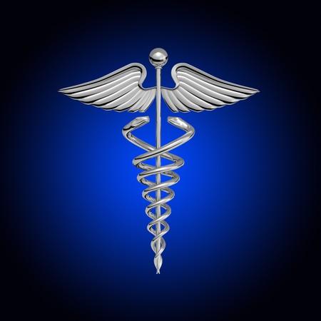 logo medicina: Caduceo de cromo sobre un fondo blanco Foto de archivo