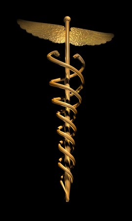 gold caduces on black Stock Photo - 7049076