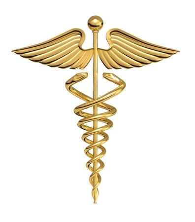 logo medicina: Un caduceo sobre un fondo blanco