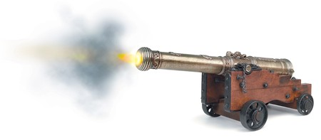 firepower: cannon firing on white background