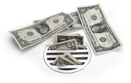 bureaucracy: cash down the drain Stock Photo