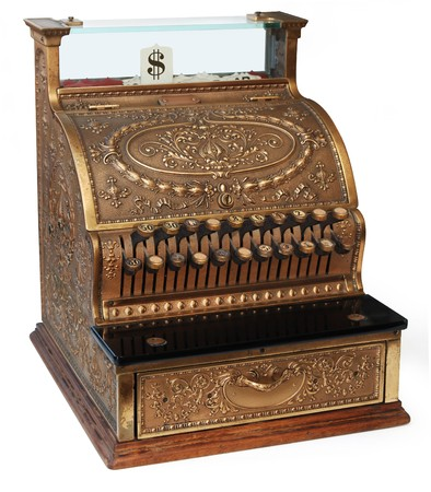 till: old fashioned cash register, isomorphic view on white background