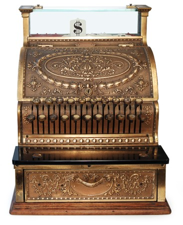 orthographic: old fashioned cash register, orthographic view on white background