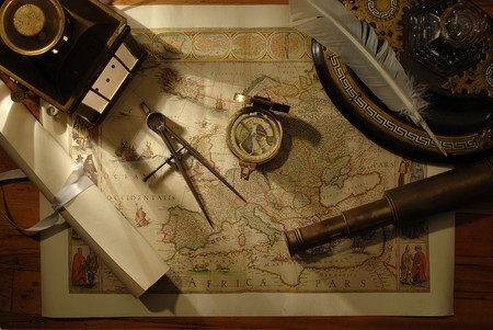 spyglass: nautical navigation tools on old world map