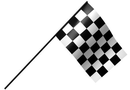 single checkered flag on white photo