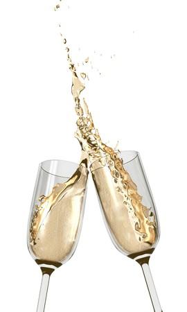 brindis champan: Dos copas de Champa�a chocan juntos en un brindis mojado y cumplir  Foto de archivo