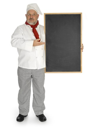 Chef holding a chalkboard on a white background. Includes clipping path.