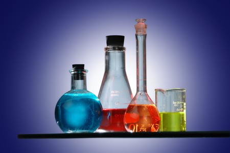 labratory: Chemistry equipment filled with different color chemicals