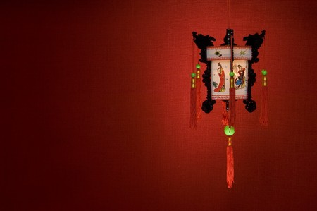 Chinese lantern on a red background photo
