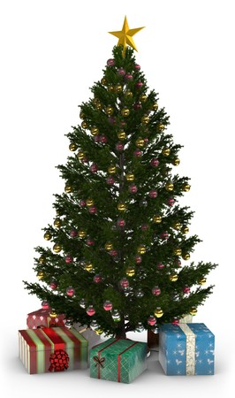 december 25th: A Christmas Tree with presents isolated on white.