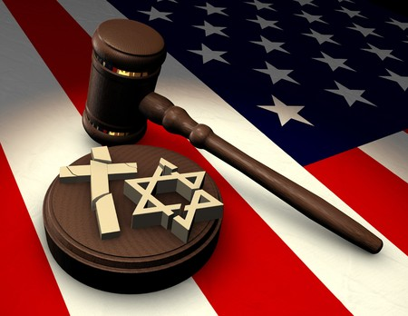 constitutional law: Judges gavel smashing religious symbols of cross and star of David on an American flag Stock Photo