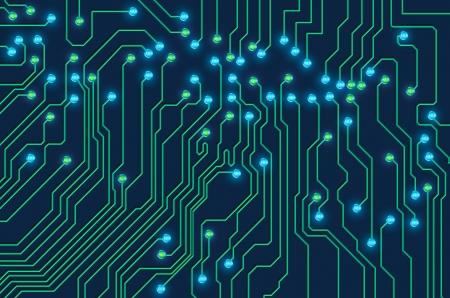 componentes: alta tecnolog�a impreso de la placa de circuito con brillantes luces de LED