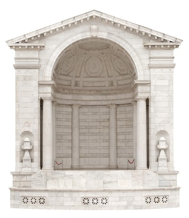niche: Classical arch with half rotunda stage for showcasing a product, isolated on a white background with clipping path