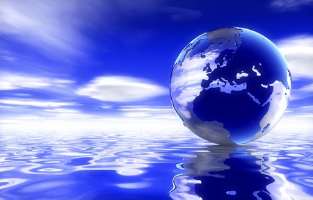 3d ball: Earth and Water Stock Photo