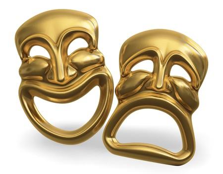 Een 3D-weergave van de klassieke komedie-tragedie theater maskers geïsoleerd op wit  Stockfoto