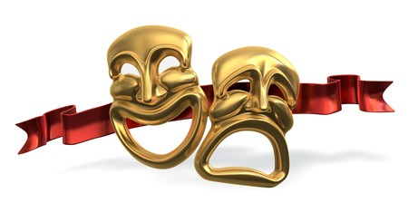 A 3d rendering of the classic comedy-tragedy theater masks with a red ribbon behind isolated on white Background photo