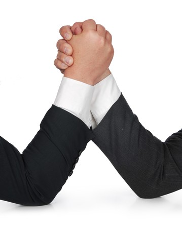 standoff: businessmen arm wrestling Stock Photo