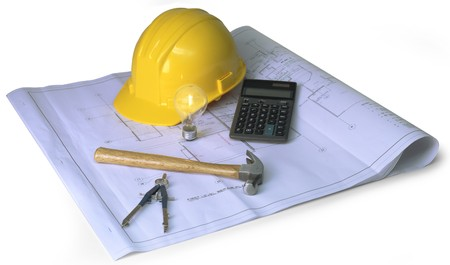 engineering tools: blueprints, hard hat, calculator, hammer, calipher, on white background