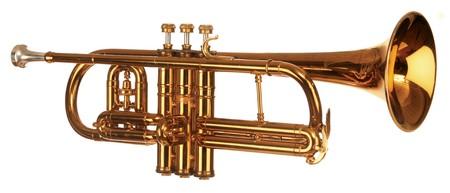 brass cornet shot at slight angle on white background Stock Photo - 7050352