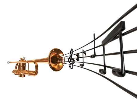 brass cornet at slight angle with a curved music score blowing out the horn on white background Stock Photo - 7049911