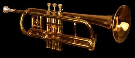 brass cornet at slight angle on black background Stock Photo - 7049713