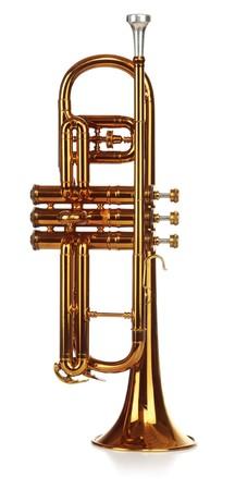 Brass cornet standing upright, short on white background Stock Photo - 7050290