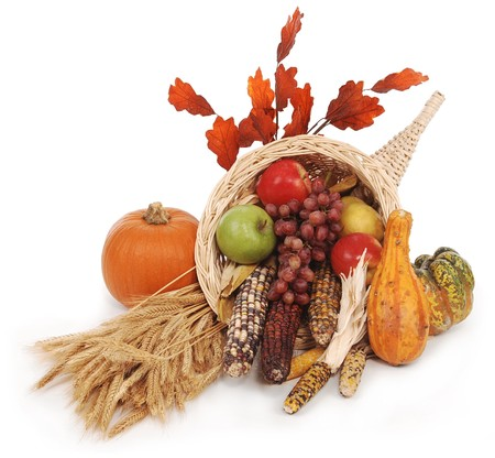 cornucopia: horn of plenty with autumn harvest of leaves, wheat pumpkin, squash, corn, apples, pear and grapes
