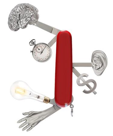 productividad: firmar la navaja con un cerebro, cron�metro, bombilla, mano, o�do y dinero Foto de archivo