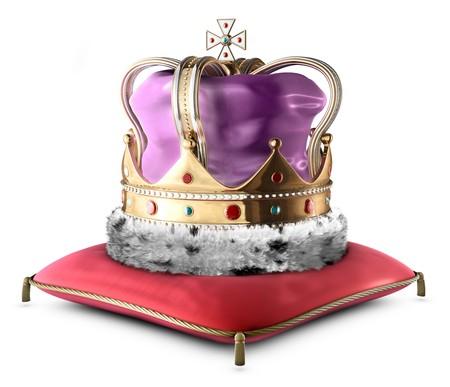 couronne royale: Couronne un roi isol� sur fond blanc Banque d'images