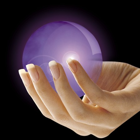 extra sensory perception: Crystal ball Stock Photo