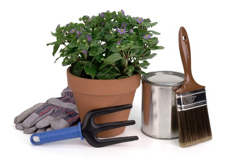 potted plant, gardening tool, gloves, paint brush and paint can photo