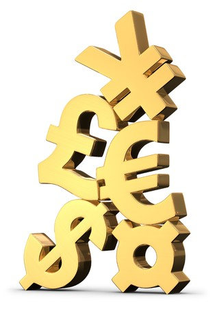 Dimensional gold international currency symbols stacked on top of each other on a white background