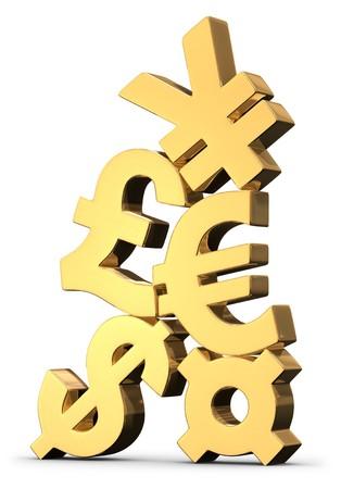 Dimensionale gold internationale Währungssymbole gestapelt oben auf einander auf weißem Hintergrund