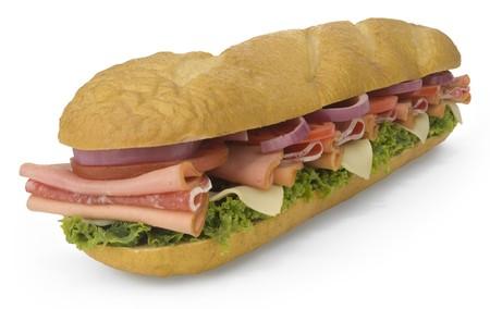 csemege: Giant submarine sandwich isolated on white Stock fotó